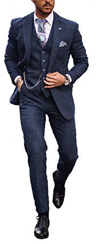 Herren Cavani Carnegi Tweed Prüfen 3-teiliger AnzugSlim Fit Bedrucktes FutterMarine Blau, EU Chest 54R-Waist 42R/UK Chest 44R-Waist 32R