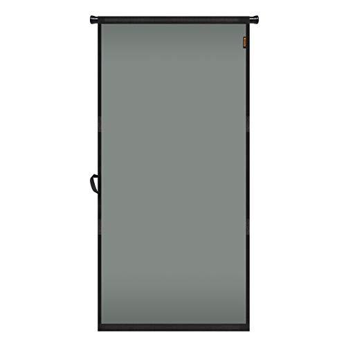 "MAGZO Hanging Screen Door 38"" x 82"", Durable Fiberglass Screen Door with Retractable Tension Rod and Hook and Loop Fit Door Size 38'' x 82'' French Patio Sliding Front Wood Screen Curtain Mesh Grey"