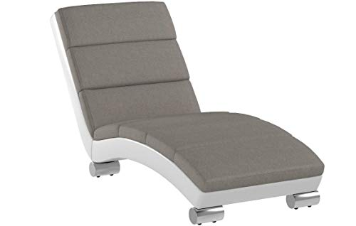 Baxton-Studio-Percy-Modern-Contemporary-Grey-Fabric-and-White-Faux-Leather-Upholstered-Chaise-Lounge-Medium-Gray