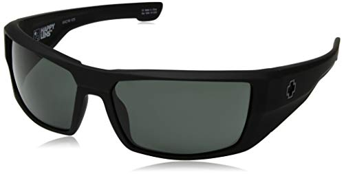 Spy Optic Dirk Wrap Sunglasses, Soft Matte Black/Happy Gray/Green, 64 mm