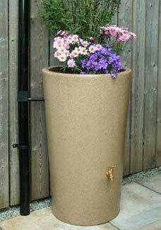 Ecosure 180 Litre Decorative Garden Planter Water Butt Rainwater Collection (Sandstone) (Terracotta Effect)