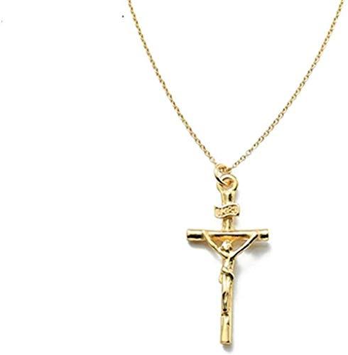 LKLFC Collar Mujer Collar Hombre Collar Jesucristo Cruz Collar para Mujer Estilo Punk Colgante Collar Cadena clavicular Aleación de Metal Accesorios de joyería Colgante Collar Niñas Niños Regalo