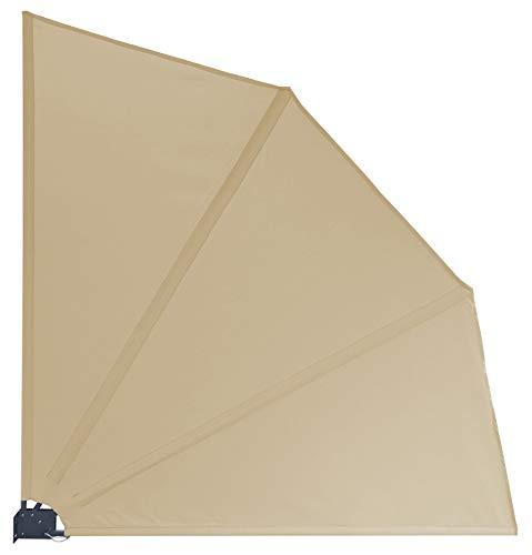 GRASEKAMP Qualität seit 1972 Balkonfächer Premium 140x140cm Sand mit Wandhalterung Trennwand Sichtschutz