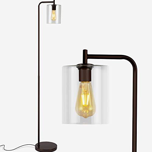Depuley LED Minimalistische Stehlampe Modern, Schwarze Standleuchte aus Glas und Metall, E27 Stehleuchte Wohnzimmer, mit Fußschalter,MAX:60W, Leselampe für Büro Schlafzimmer Studio Esszimmer