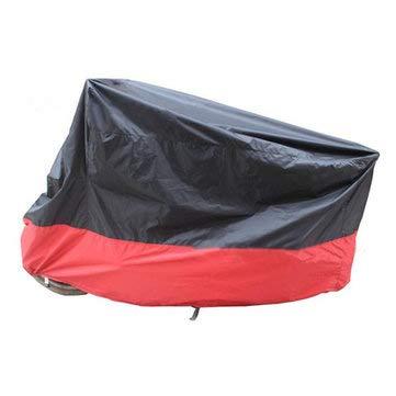 C-FUNN 190T Xxxxl motorhoes regenstof waterdichte beschermer 290 * 110 * 140 cm Zwart/rood