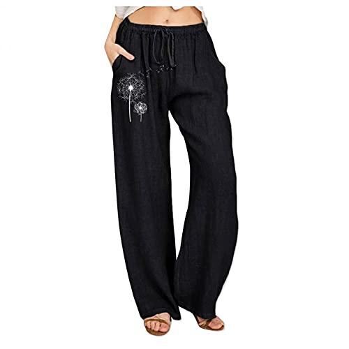 Damen-Yogahose im Bohemian-Stil, locker, bequemer Leinenstoff, weite Beine, modisch, Blumendruck, elastische Taille, Trainingshose, Schwarz , S