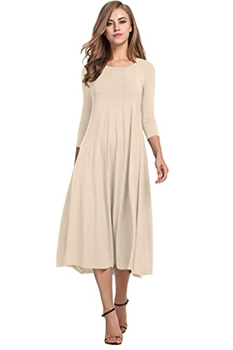 Hotouch Women's Loose Long Sleeve A-Line Flared Midi Shift Dress (Beige L)