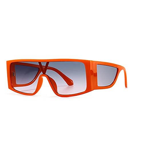 Heigmz Nvtyj Gafas de sol retro de gran tamaño, cuadradas de una sola pieza, gafas de sol para mujer con espejo degradado (color: naranja, gris rosa)