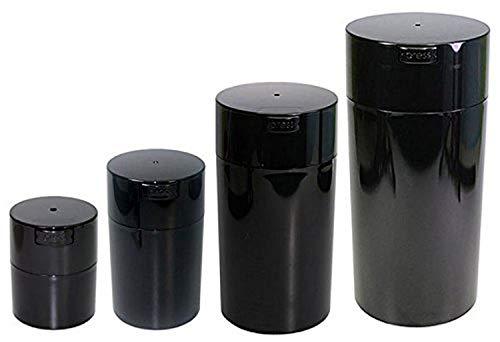 Tightvac Lot de 4 boîtes de rangement étanches sous vide pour produits secs, 4 tailles : 680,4 g, 340,2 g, 170,1 g, 85,0 g, corps teinté noir nacré