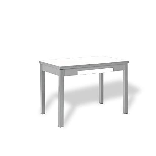 ASTIMESA Mesa de Cocina con Alas de Cristal Blanco 100x60 cms