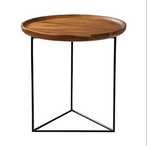 JINKEBIN Mesa Plegable de Sala de Estar Sofá Mesa de café sólido Personalidad Bandeja Madera Metal Hierro Forjado Creativo nórdica Mesa Redonda Pequeño Viento