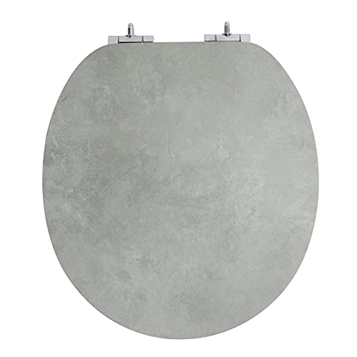 Toilet Seats Round with Soft Close, Strong Hinges Will Never Loosen, Grey, Quiet Close, MDF with CARB Certificate