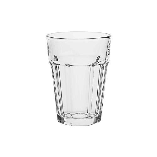Amazon Commercial - Vaso de vidrio multifunción, 372,6 ml, juego de 6 unidades