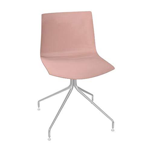 arper Catifa 46 0257 Stuhl einfarbig mit Sternfuß, rosé Außenschale glänzend innen matt Gestell verchromt