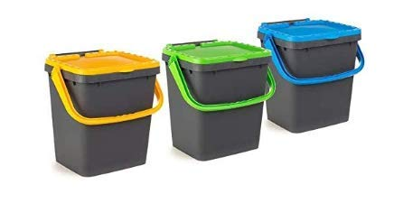 Ecoplast ECP35 Lot de 3 poubelles fermées EcoPlus pour tri sélectif écologique 35 litres, Multicolore, 43 x 36 x (H) 43,5 cm