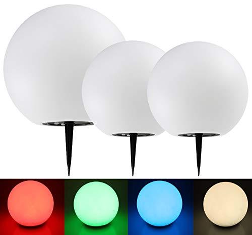 Solar Garten Kugelleuchten 3er Set 20cm 20cm 30cm Ø LED RGB + Warmweiß I mit Erdspieß I IP44 Wetterfest I Dämmerungs-Sensor I Weiß