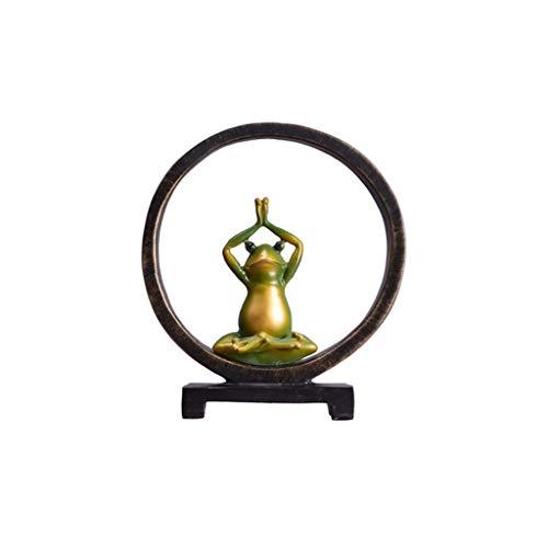 NYKK Estatuas de Feng Shui Yoga de la Rana Creativo de la Sala de Entrada gabinete del Vino Estudio Europeo Moderna Minimalista de TV Gabinete Mobiliario Estatua de Riqueza (Color : C)