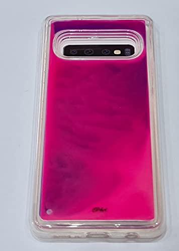 CPundA Schutzhülle für Samsung S10, leuchtend Glitzer Neon TPU + PC Quicksand Stoßfest Farbige Bumper Kratzfest Slim Fit Schutzhülle Bumper Cover für Samsung Galaxy S10 (Lila Pink)