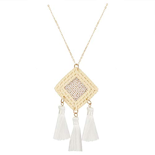 Statement Tassel Necklace Handmade Rattan Drop Necklace Boho Beaded Y-Shape Pendant Long Chain Necklaces for Women (White)