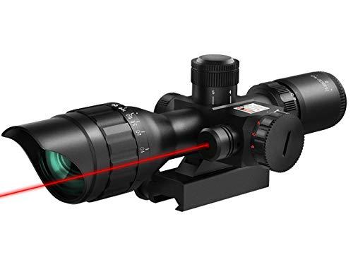 MidTen 2.5-10X Scope Dual Illuminated Mil-dot Optics with Red Laser & 20mm Mounts (2.5-10x40E)