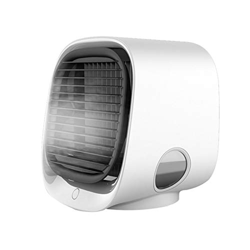 Mini Enfriador De Aire, 4 En 1 Aires Acondicionados Móviles Personal,Climatizador Evaporativo Portátil, Ventilador, Humidificación Y Purificación, 3 Velocidades,7 Colores Luz Para Hogar, Oficina,White