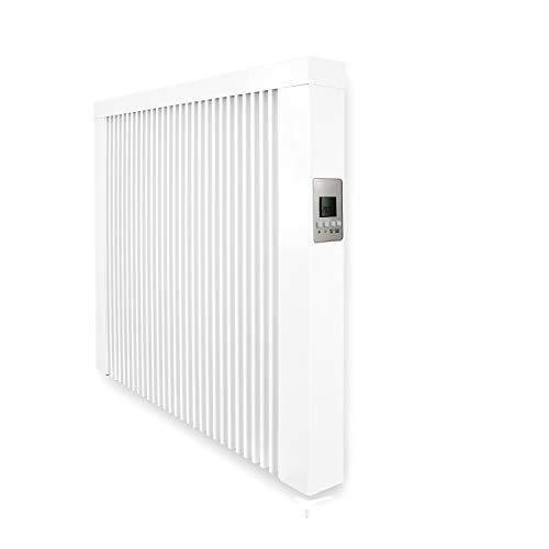 anapont Elektroheizung mit Schamottekern - weiß - mit Speicherstein Schamotte - mit Thermostat - energiesparend - Made in Germany