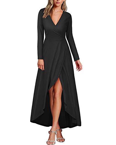 KILIG Womens V Neck Long Sleeve Elegant Asymmetrical Casual Maxi Dresses