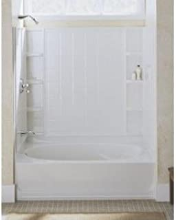Sterling 71104100-96 Ensemble Vikrell 60-In X 37.5-In X 54.25-In Bathtub Wall Surround, Biscuit