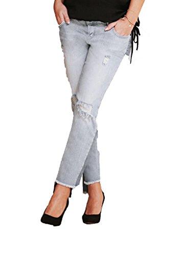 Supermom Damen Umstandsjeans Relaxed Boyfrien 7/8 Jeans S0745, Blau (Stone Wash C295), W30