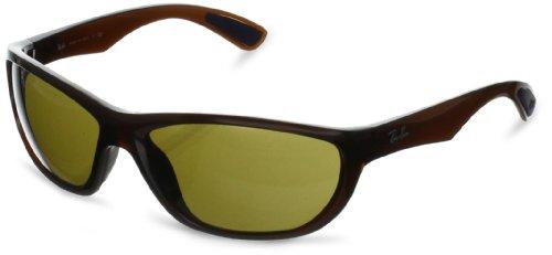 Ray-Ban RB4188 Wrap Sunglasses, SHINY BROWN, 63 mm