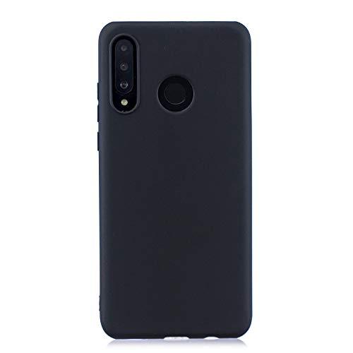 cuzz Custodia Huawei P30 Lite+{Film di Vetro temperato}Silicone TPU Cover Morbida Protettiva Custodia Ultra Sottile Leggero Cover-Nero