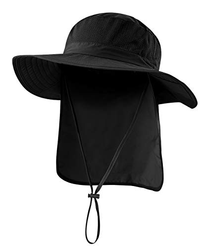 Home Prefer Outdoor UPF50+ Mesh Sun Hat Wide Brim Fishing Hat with Neck Flap (Black)