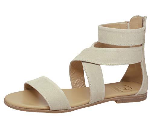 Gallucci Sandalen 933 Leder Klassisch Schmal Sand Beige, Schuhgröße:EUR 40