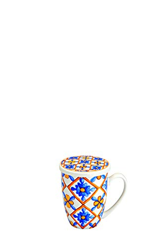 Brandani 53711 Mug Medicea Fiore New Bone China C/Infusore Inox d 8x11,5h cm
