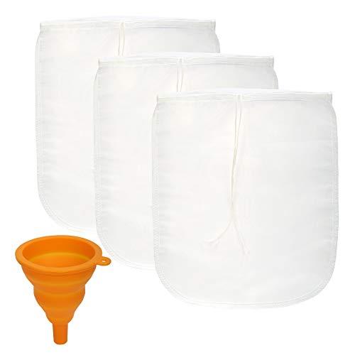 BIGKASI 4PCS Bolsa Reutilizable para Leche Paño Queso,Cheese Cloth para Preparación de Leche de Nueces, Jugos Vegetales y Batidos 100% Nylon Colador