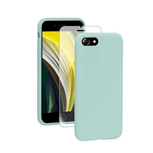 SmartDevil Funda iPhone SE 2020+Protector de Pantalla, [Totalmente Protectora] Funda de Goma de Gel de Silicona Líquida a Prueba de Golpes Suave.ELA Microfibra Funda iPhone SE 2020-Azul