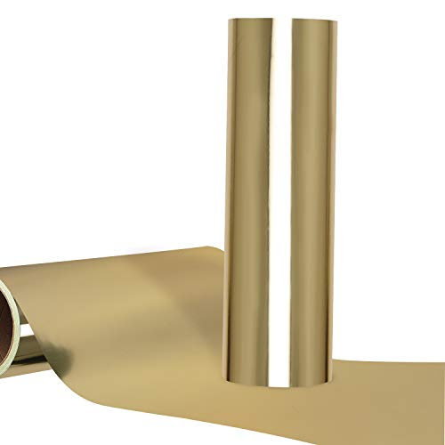 Metallic HTV Gold Heat Transfer Vinyl Chrome Foil for Tshirt Compatible with All Cutting Machines...