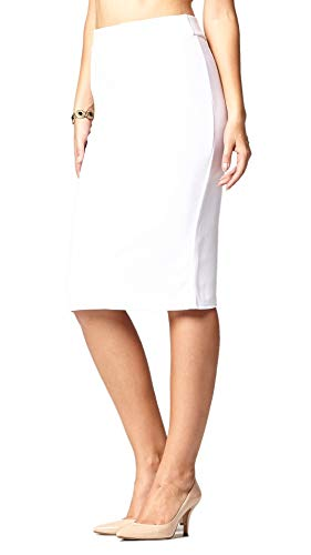 Premium Stretch Pencil Skirt for Women with Slit - Pull On Elastic Waistband - Bodycon Midi Skirts - Classic White - Large