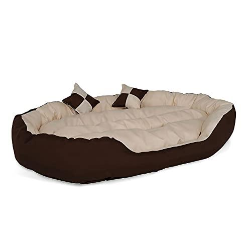 lionto by dibea Cama para perros 4 en 1 cojín para perros cesta para perros con cojín reversible (M) 85x70 cm marrón/beige