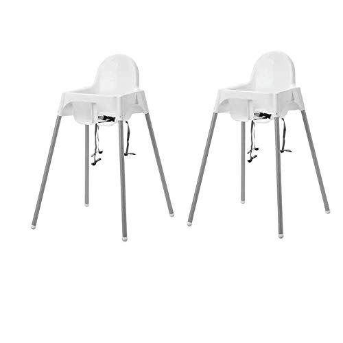 2x IKEA Antilop - Trona con cinturón de seguridad para bebé, fácil de mover gracias a sus patas extraíbles, color blanco