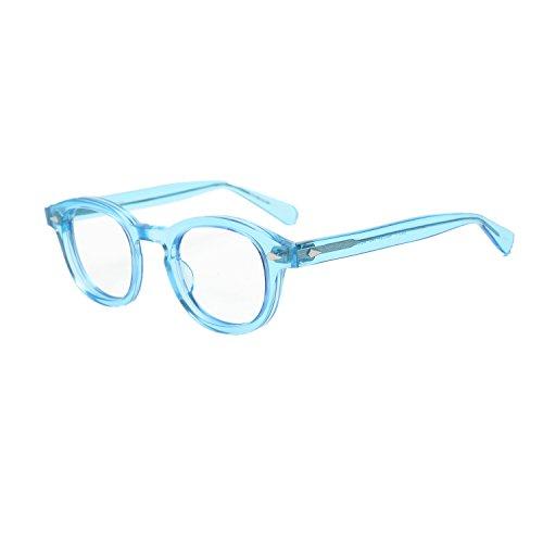 Pirata Capitano Johnny Depp Acetato Ovale Moda Occhiali da lettura ottici Telaio Vintage Uomini e donne Miopia Occhiali da vista (blu)