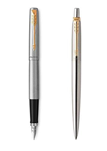 Parker Jotter - Parure con penna stilografica e sfera in acciaio inossidabile, attributi dorati