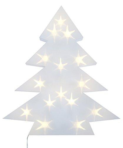 LED Beleuchtung Weihnachts-Baum aus weißem Kunststoff LED beleuchtet - Weihnachts-Deko Weihnachten Sideboard Fenster-Dekoration Tannen-Baum