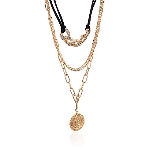 Colgante de moda Retro Diamante Borla Collar de piel con flecos Colgante de medalla redondo largo con múltiples capas
