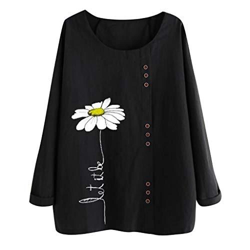 Automne et Hiver Nouvelle Mode Shirt Tops Blouse Femme Coton Lin,T-Shirt Florale Marguerite,Manches Longues Casaul Tee Tops Grande Taille,Chemise Lin Col Ronde,Vintage Blouse Unie Chic