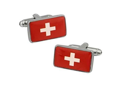 Beydodo 1 Paar Herren Edelstahl Manschettenknöpfe Hochzeit Schweizer Flagge Silber Manschettenknöpfen Geschäft Geschenk