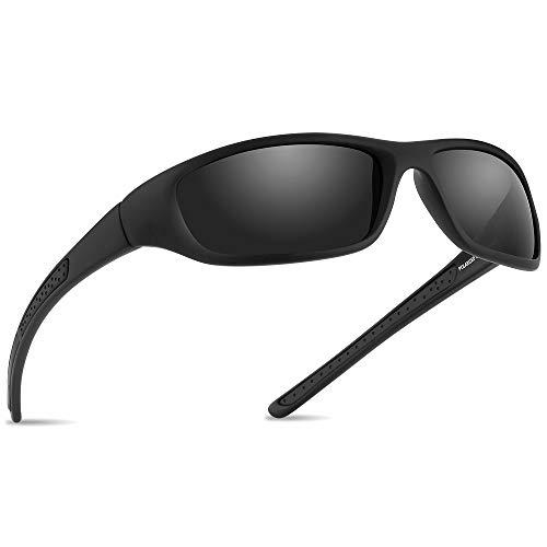Vimbloom Hombre Gafas de Sol Deportivas polarizadas para béisbol, Atletismo, Pesca, Ciclismo, Golf VI367 (Negro Mate)