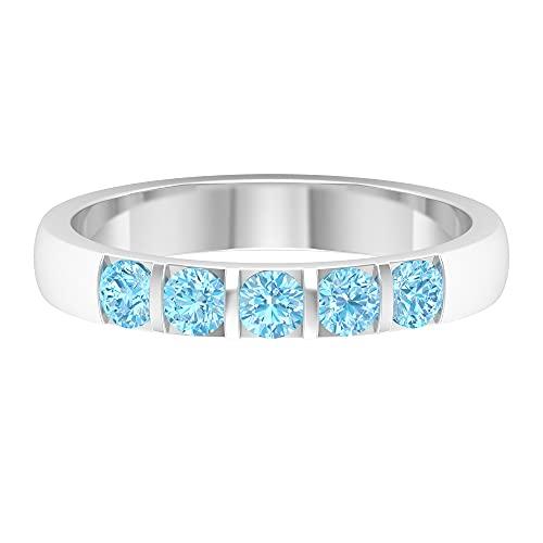 Juego de barra de 1/2 CT de aguamarina de cinco piedras anillo (calidad AAA), oro blanco, aguamarina, tamaño: UK X1/2