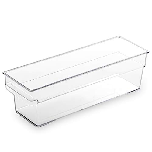 BINO Clear Plastic Storage Bin with Built-In Pull Out Handle - (Shallow, Small) - Storage Bins for Home, Kitchen, and Bath - Refrigerator, Freezer, Cabinet, Closet, Pantry Organization and Storage
