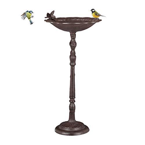 Relaxdays Gusseisen Vogeltränke groß, Ständer, Gartendeko, Vogelfutterstelle, Wildvögel Wasserschale, 74,5cm hoch, braun
